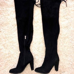 Black Thigh high suede booties